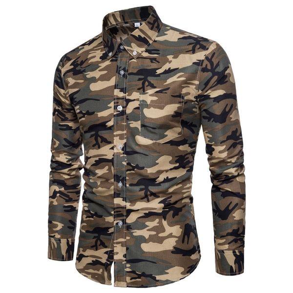 2019 Men's Brand Shirts Spring New Listing Fashion Casual Camo Shirt Men's Long Sleeve Slim Dress Shirts Camisa Masculina M-xxl