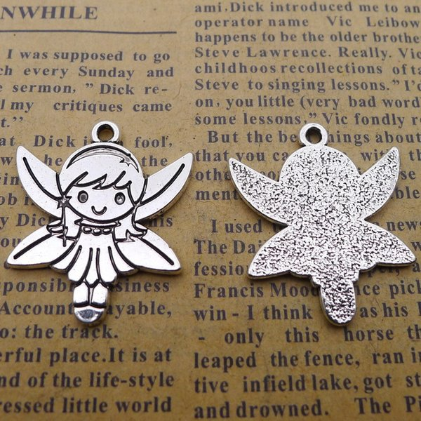 60pcs 25*28mm Antique tibetan Silver plated angel fairy girl charms for bracelet vintage alloy metal pendants diy jewelry making ornament