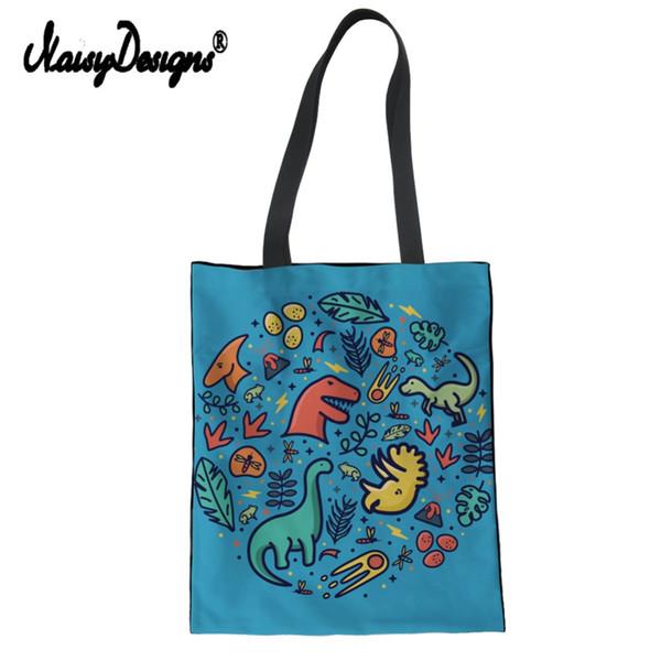 3b2c9905 Noisydesigns Динозавр с принтом Женская сумка из плотной ткани Eco  Многоразовая сумка для покупок Большая женская