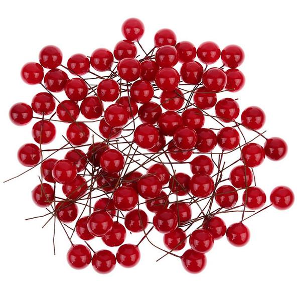 100pcs artificielle rouge houx baies de noël bricolage décorations de jardin pour la maison fournitures de noël