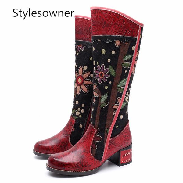 Großhandel Stylesowner Vintage Patchwork Western Cowboystiefel Frauen Böhmischen Echtem Leder Weiblichen Mitte Der Wade Stiefel Botas Mujer Warm Von
