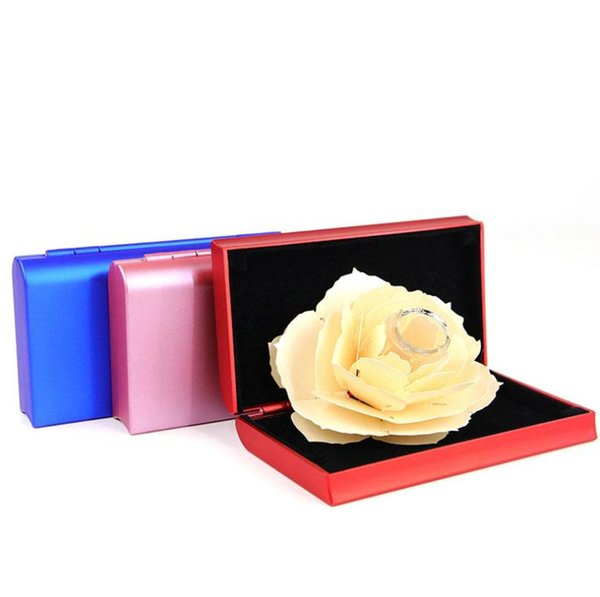 3D Rose Flower Ring Holder Box Unique Romantic Pop Up Wedding Engagement Rings Box Case Surprise Jewelry Storage Holder Pink/Red/Blue