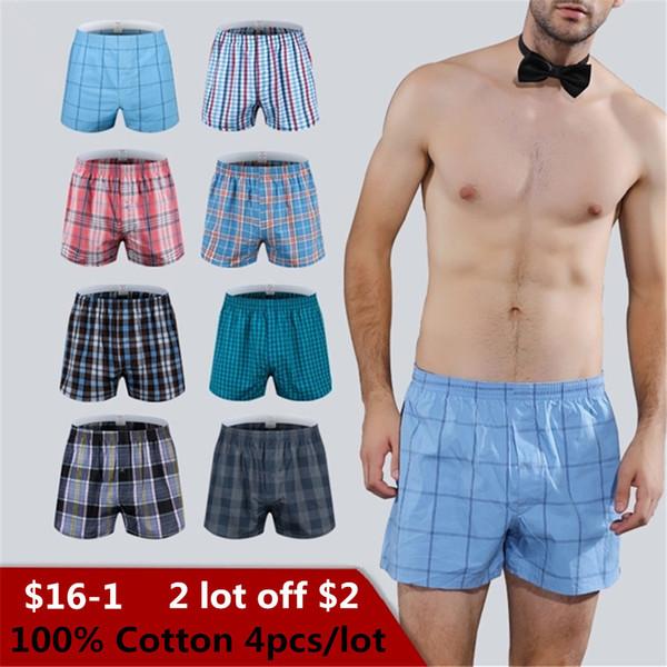 Pugili classici da uomo in cotone scozzese intimo maschile bauli intessuti Homme Arrow mutandine boxer con elastico in vita pantaloncini sciolti