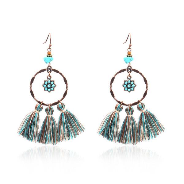 Creative Circle Lotus National Style Long Tassel Earrings Women Fringe Exaggeration Eardrop Statement Earrings Fashion Dance Jewelry Gift