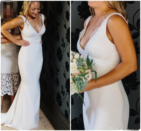 Vestido de novia de sirena de encaje satinado 2019 Sencillo y liso Profundo Escote en V Profundo Cintura Vestidos de novia sin espalda Sin espalda Playa Blanca