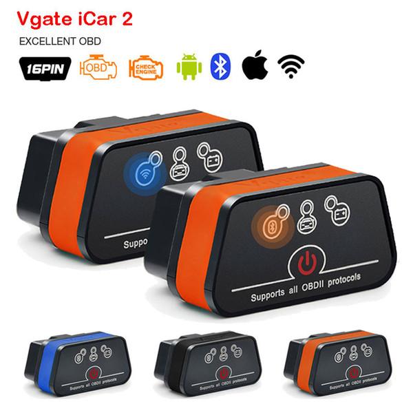 Vgate Icar2 Bluetooth OBD2 Ferramenta de Diagnóstico Scanner ELM327 V2.1 Bluetooth OBD 2 Mini Adaptador WiFi Android / IOS / PC Leitor de Código de Digitalização