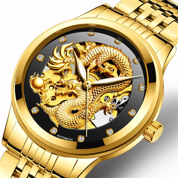Fngeen Gold Dragon Automatic Mechanical Watch Casual Mens Watches Stainless Steel  Business Fashion Watch Relogio Masculin
