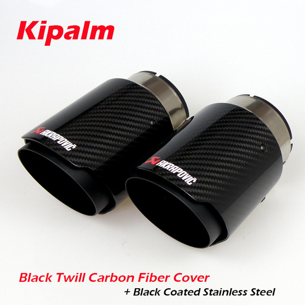 top popular Universal Akrapovic Carbon Fibre Car Exhaust Pipe Muffler Tip Glossy Twill Carbon Fiber Cover + Black Coated Stainless Steel 2021