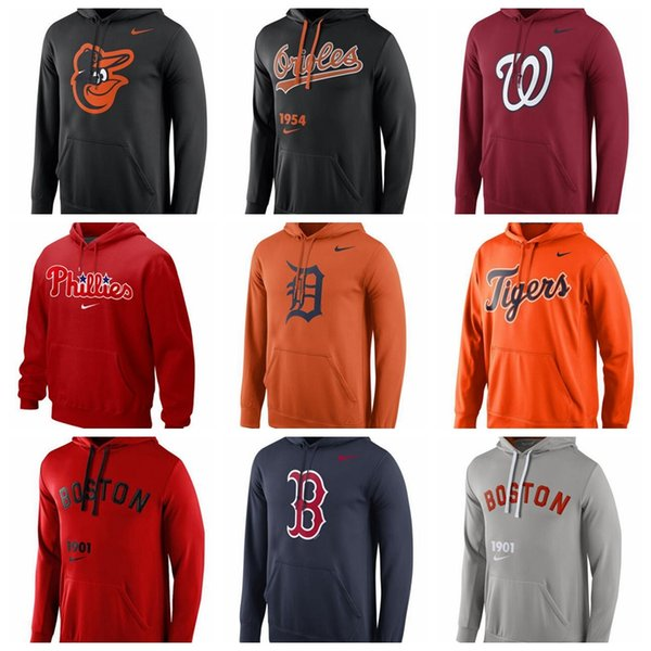 sports shoes 32884 d6107 2019 Men'S Washington Nationals Philadelphia Phillies Detroit Tigers Boston  Red Sox Baltimore Orioles Red Logo Performance Pullover Hoodie From ...