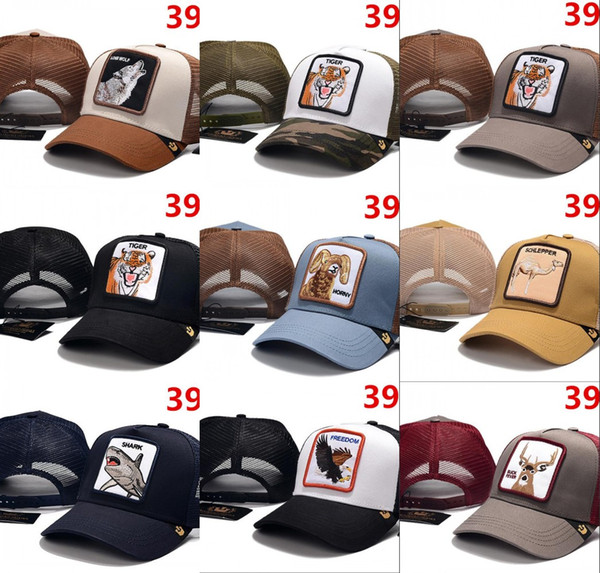 Оптовые Дизайнеры Шляпы Casquette Trucker snapback Caps Вышивка животных Для Мужчин Женские кости Бейсболки Спортивные шляпы Sun Viosr gorras