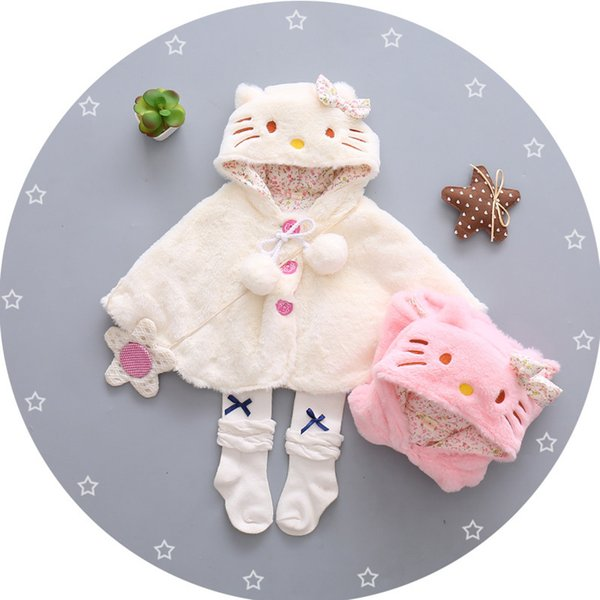 good quality 2019 baby girls coat infant faux fur thermal cute cartoon outerwear hooded princess jacket for girls outerwear clothing