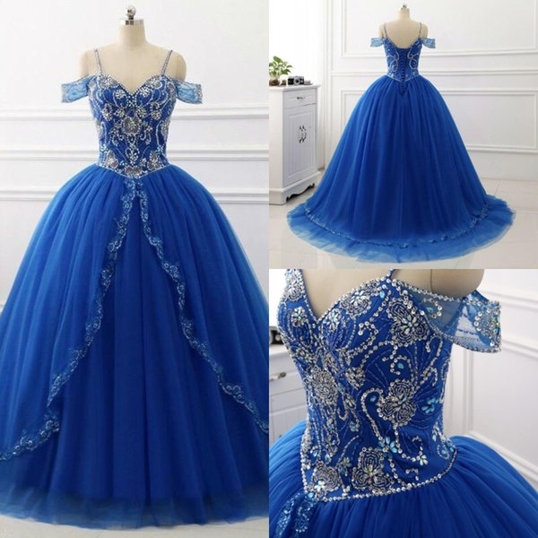 blue spaghetti straps ball gown prom dress princess beaded puffy tulle quinceanera dresses lace up elegant sweet 16 dresses 2019 plus size