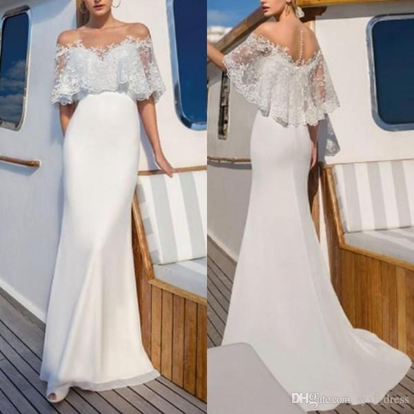 2019 Spring Long White Mermaid Wedding Dresses Illusion Lace Scoop Neck Covered Button Bridal Gown Simple Vestido De Novia