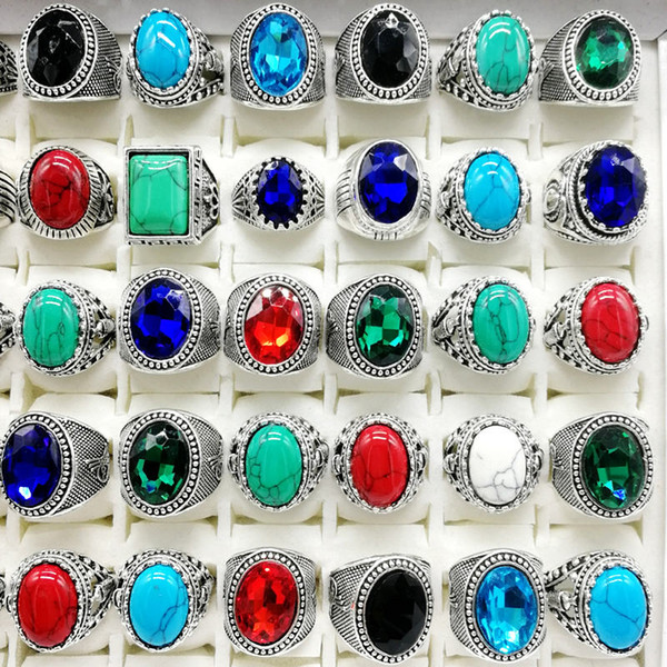 top popular New 30pcs pack Turquoise Ring Mens Womens Fashion Jewelry Antique Silver Vintage Natural Stone Ring Party Gifts 2020