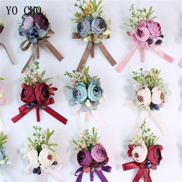 YO CHO boutonniere Erkekler Düğün Korsaj Rustik Gelin Bilek Çiçekler Mavi Bordo Gül boutonniere Damat Korsaj Parti Toplantısı Kişisel Dekor