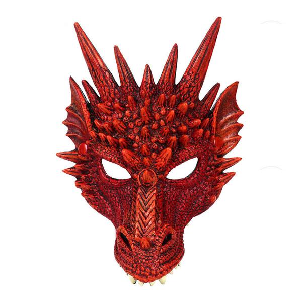 Mardi gras mask headgear ornament halloween carnival christmas party PU foam 3D animal dragon funny mask teasing red black yellow green blue
