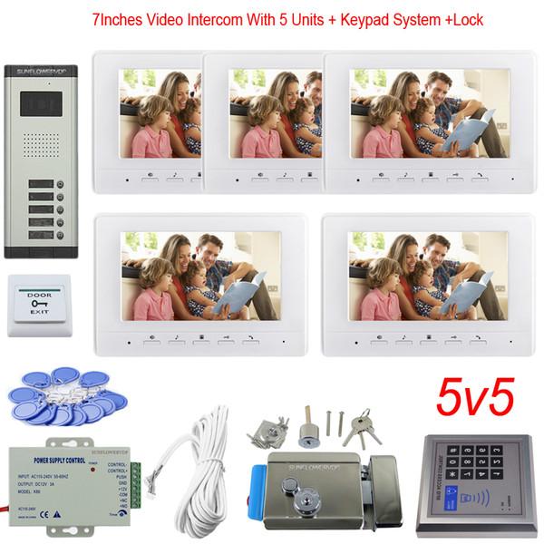 Clavier de contrôle d'accès 5 appartements Système de vidéosurveillance couleur 7