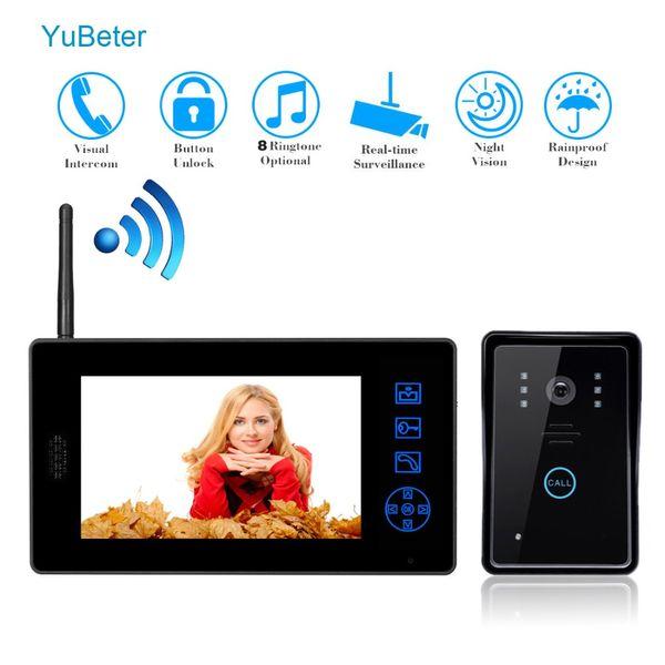 YuBeter 7 дюймов беспроводной видео домофон ключ Wifi видео-глаз дверной звонок для частных домов квартира офис ЖК-экран камеры комплект