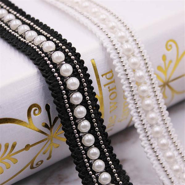 1 Yarda 2 cm Perlas de Perlas Blanco Negro Encaje Borde Cinta Cinta Cinturones Pasamanería Suministros de costura Craft Boda Vestido de Novia Ropa Zapatos DIY