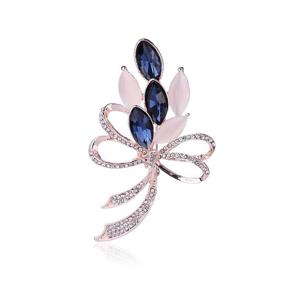 Korean Jewelry Brooch High File Date Han Jianyue Flower Crystal Bow Full-drilled Brooch