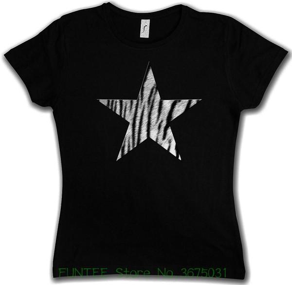 Camiseta de mujer Camiseta con logo I estrella de piel de tigre blanco - Leo Tattoo Rockabella Cat Girl Cat T Shirts Camiseta de manga corta Top de dama