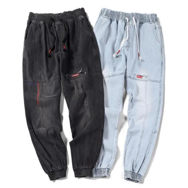 Chic Erkekler Genç Harem Kot Bahar Rahat Jogging Yapan Pantolon Gevşek Artı Boyutu Hiphop Jean Pantalones
