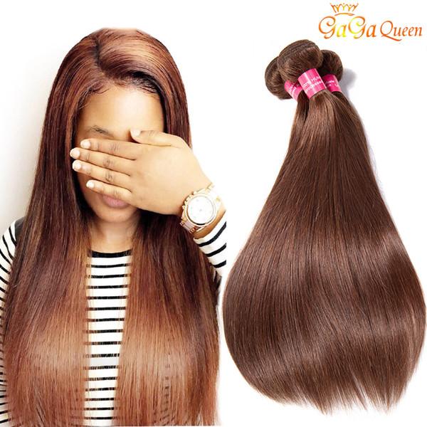 Brasilianische glatte Haarwebart bündelt Farbe der Farbe # 4 brasilianisches reines Haar gerade Haarverlängerungen hellbraun