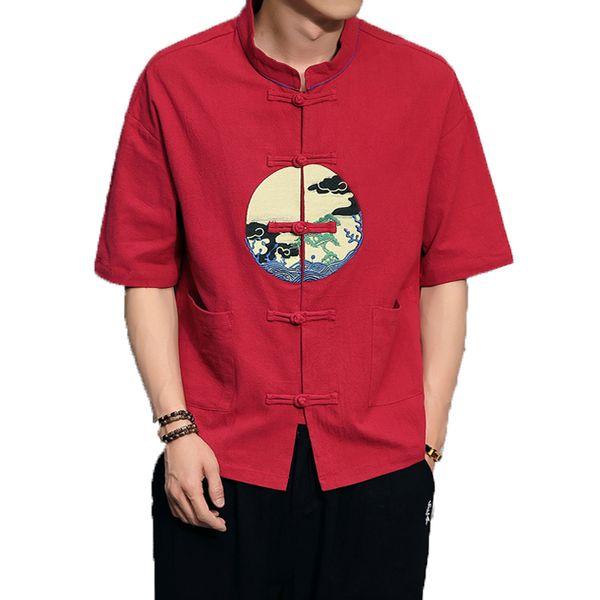 2019 Men Shirts Male Cotton Linen Shirt Men Short Sleeve Mandarin Collar Chinses Traditional Button Frog Printing Shirts