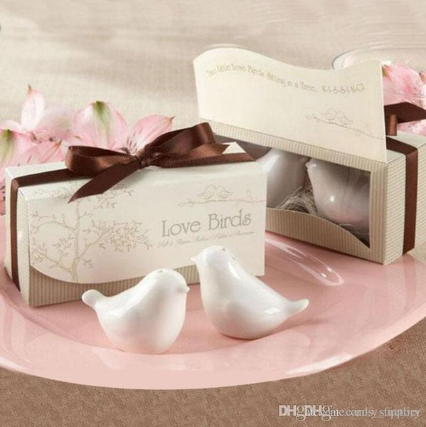 Wedding Favor Love Bird Salt and Pepper Shaker Set Party Gift with a Fancy Package Box 7 Colors