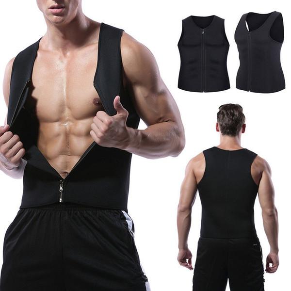 Mens Compression Zipper Body Shaper Vest Zip Slimming Tank Waist Trainer Fitness GYM Shapewear Training Sleevess Vests A42602