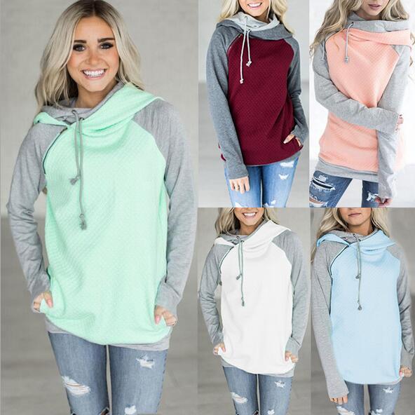 Ladies' autumn and winter zip long-sleeved fleece jacket Hooded stitching women's sweater