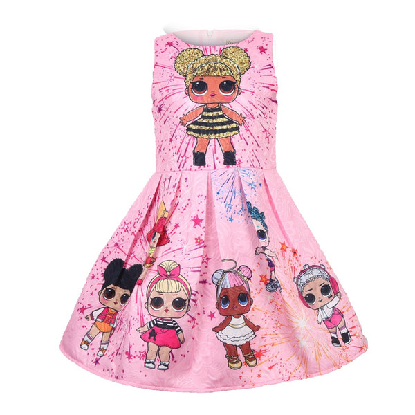 Girls Dress Cartoon Wedding Party Dresses for Kids Pearls Formal Ball Gown 2018 Evening Baby Outfits Tulle Girl Frocks