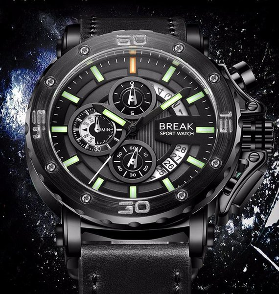 Hot luxury brand designer high-end European and American style men's multi-function large dial sports quartz waterproof luminous watch