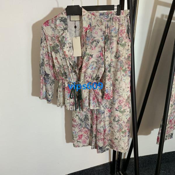 High end kadınlar kızlar coat Uzun Kollu İpli Elastik Bel Yaka Çiçek Baskı Ceket ve Baskılı yüksek bel geniş bacak pantolon Suit