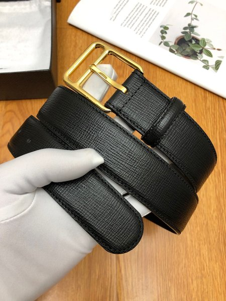 Hot Sale New Style Simple Hipster Square Buckle Leather Belt Black Classic Gold and Sliver Needle Designer Belts with Original Box