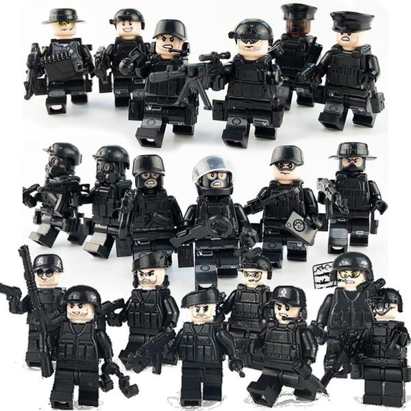 20 pz / set Forze Speciali Militari Soldati Mattoni Figure Pistole Armi Armate Swat Building Blocks Giocattoli Ww2 MX190730