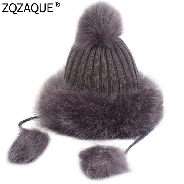 WOMEN Fashion Rabbit Hair Knitted Caps Cute Pompom Decor Princess Cap Thick Warm Fall Winter Knitting Wool Hats Sweet Hat SY1929