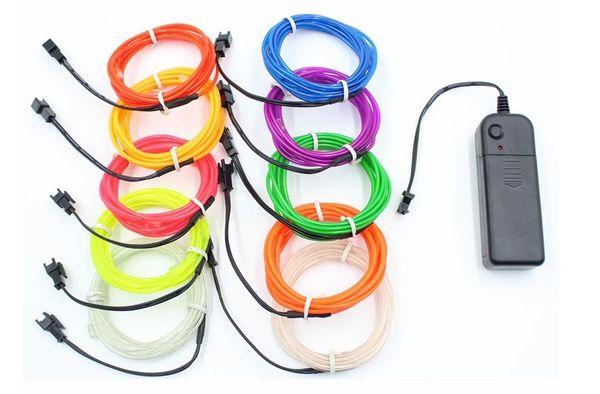 10 Couleurs 3 M 3 V Flexible Neon Light Glow EL Câble Corde Bande Câble Bande LED Neon Lights Chaussures Vêtements De Voiture Décoratif Lampe de Ruban LLFA