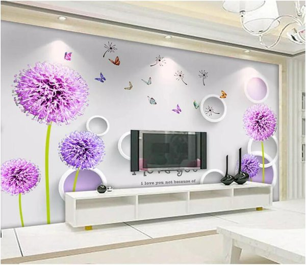 3d Wallpaper Custom Photo Mural On The Wall Purple Dandelion Circle Backgrond Wall Home Decor Living Room Wallpaper For Walls 3 D Baby Wallpaper