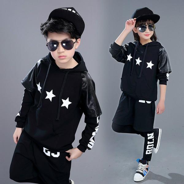 Children Hip Hop Dancing Costumes Boys Girls Jazz Dance Wear Costumes Children Stage Performance Costume Top + Short + Leggings