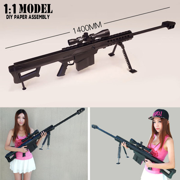 1:1 Barrett 140Cm Toy Gun Model Paper Assembled Educational Toy Building Construction Toys Card Model Building Sets T190919