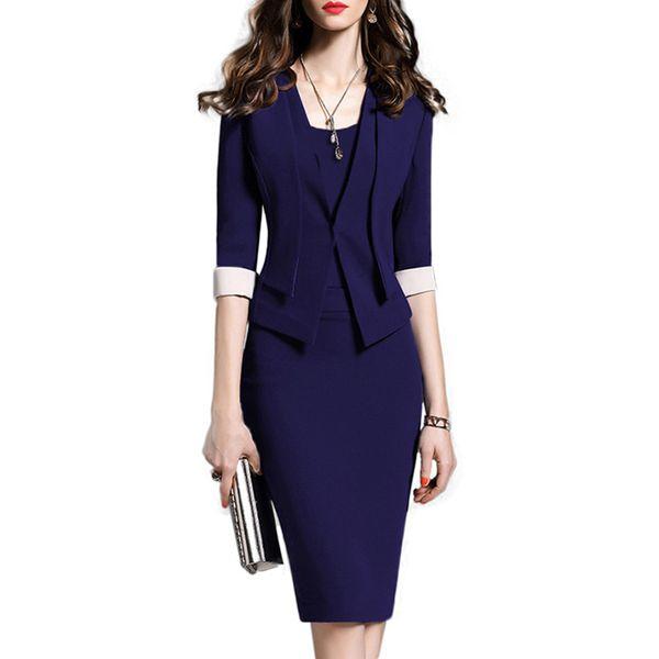 Women Clothes 2019 Autumn Elegant Blazer Dress Jacket Set Ladies Suits For Office Wear Waist Hip Slim Special Occasion Dresses