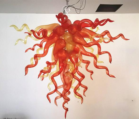 Новый трендовый светодиодный подвесной светильник уникальный дизайн стиль ручной работы выдувное стекло люстры оранжевый Маленький хрустальный канделябр