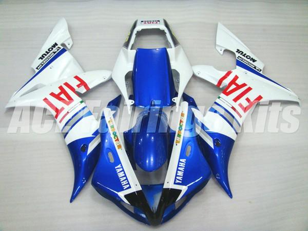 3 presentes de Alta qualidade Novo ABS carenagens da motocicleta apto para YAMAHA YZF-R1 2002 2003 R1 02 03 YZF1000 carenagem kits personalizado azul branco FIAT