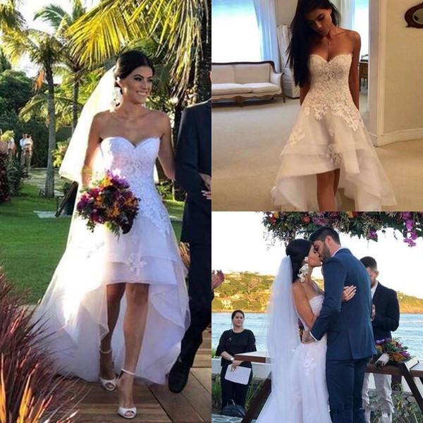 Sweetheart 2019 Appliques Tulle Beach Boho Wedding Dresses High Low Country Wedding Dress Short Bridal Gowns Robe Mariage Vestido de Novia