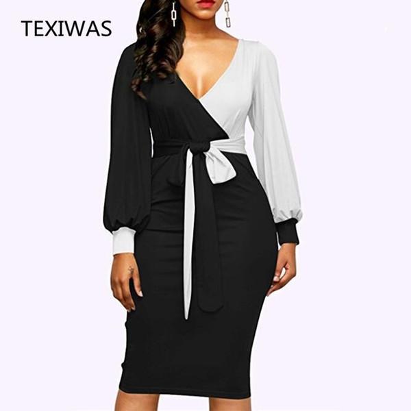 TEXIWAS 2018 Nuevas Mujeres Elegantes Con Cuello En V Patchwork Colorblock Raja Lateral Business Office Party Bodycon Dress Plus Size slim Dressese # 395368