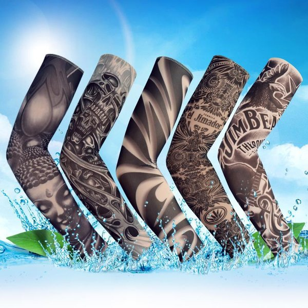 best selling Tattoo Sleeve Outdoor Cycling Body Arm Sleeve Anti-UV Sunscreen Fishing Driving Tattoo Arm Seamless Elastic Sleeve Mittens MMA1824-5