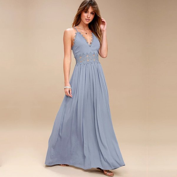 Elegant backless Strap long dress Women Hollow Out evening summer beach dress Party sexy Blue maxi dresses vestidos sundress T519053003