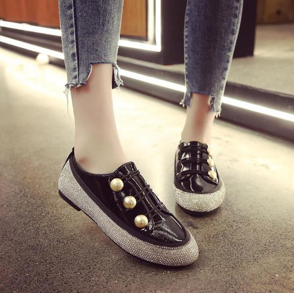Größe 35-43 Frauen Wohnungen Schuhe 2019 Müßiggänger Slip on Flat Lässige Mode Student Strass Einzelne Schuhe Bequeme Damen Schuh