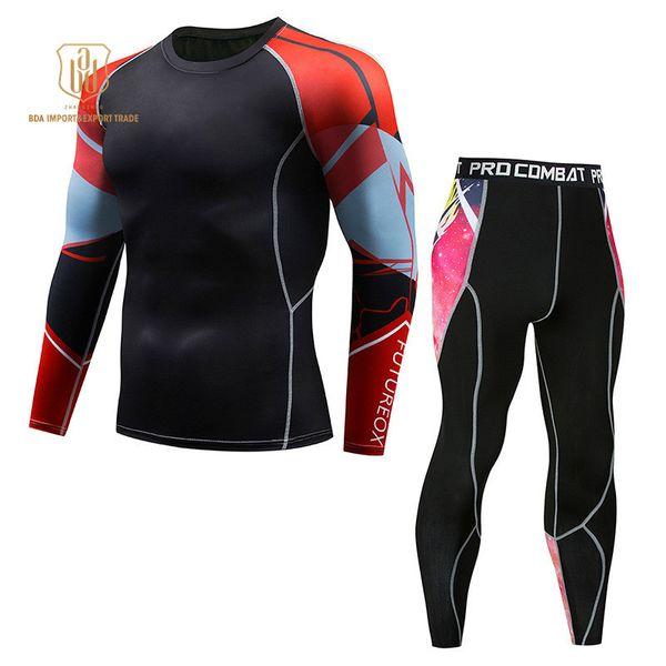 Tracksuit Men NEW T shirt Pants Fitness Running Yoga Gym High Elastic Quick Dry Breathable Bodysuit